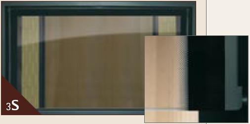 3-seitg bedruckte Glaskeramik am Kamineinsatz von Spartherm